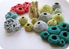crochet pods and sea creatures by cornflower blue studio
