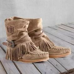 Casual Suede All Season Boots Flat Heel Boots, Ankle Boots, Women's Boots, Fringe Boots, Suede Boots, Suede Leather, Punk Boots, Leather Moccasins, Leather Tassel