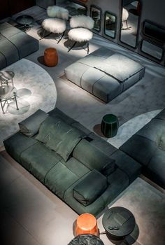 """Design: Paola Navone """"Bongo"""" the footstool. """"Bongo"""" is the small piece of furniture, is the object which gives solutions also in small spaces. """"Bongo"""" is design Sofa Layout, Furniture Layout, Furniture Styles, Furniture Design, Baxter Furniture, Sofa Furniture, Luxury Furniture, Sofa Design, Interior Design"""