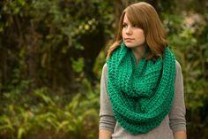 Green Infinity Scarf, Dark Mint, Spearmint Crochet Oversized Scarf