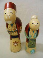 Pair of JapaneseVintage Wooden Kokeshi Doll 22cm18cm / TAKASAGO / Artist HAJIME