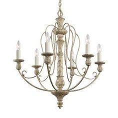 $443 Kichler Lighting Hayman Bay 27-in 6-Light Distressed Antique White Vintage Candle Chandelier