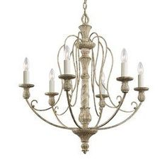 $443 Kichler Lighting Hayman Bay 27-in 6-Light Distressed Antique White Vintage Candle Chandelier