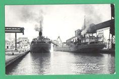 1953 PHOTO POSTCARD SHIPS MICHIGAN LIMESTONE & CHEMICAL CO. ROGERS CITY, MI