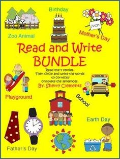 Read and Write Bundle 2 (lose Reading) (Zoo Animals, Mother's Day, Father's Day, School, Playground, Earth Day, and Birthday) - 7 cute short stories with related fill in the blank sentences to check for comprehension - $