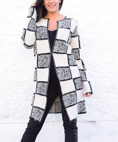 Loving this Black & White Checkerboard Wool-Blend Open Duster on #zulily! #zulilyfinds