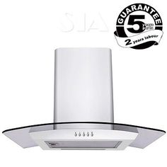 SIA CP61WH 60cm Designer Curved Glass White Cooker Hood Extractor Fan in Oven & Cooker Hoods | eBay
