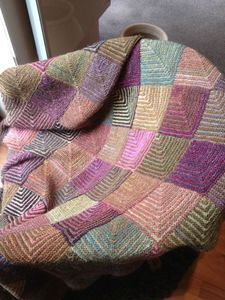 Amazing muted colours. Mitered squares