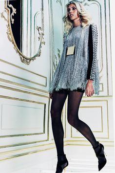 Balmain pre fall 201 : silver fringe mini dress