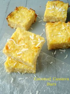 These gluten-free coconut cassava bars are made with a cake base that is soft, flavorful and chewy and topped with a thick coconut layer. The recipe's here! Jello Recipes, Sweets Recipes, Snack Recipes, Flour Recipes, Gluten Free Sweets, Dairy Free Recipes, Vegan Sweets, Fiji Food, Cassava Cake