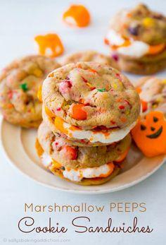 Marshmallow PEEPS Cookie Sandwiches - so festive and easy to make! sallysbakingaddiction.com