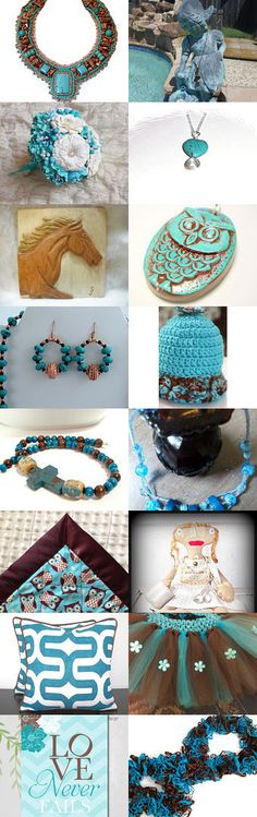 Turquoise and Brown by Amanda  Johnson on Etsy--Pinned with TreasuryPin.com #novemberfinds