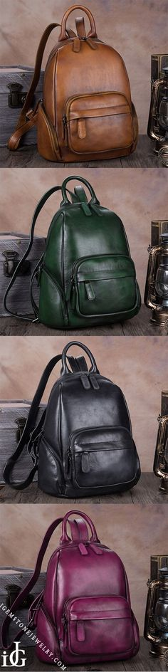 1ab46b9209 Ladies cool Leather Backpacks Purses Backpacks for Women Vintage Leather  Backpack