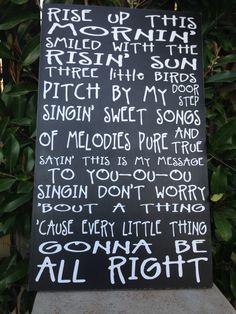 Bob Marley Three Little Birds Music Lyrics Wood by LilMissScrappy
