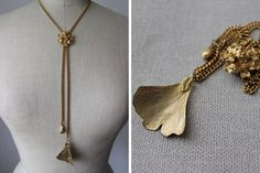 Vintage Gold Tone Leaf Chain Necklace / Drop of Gold by cocoandorange