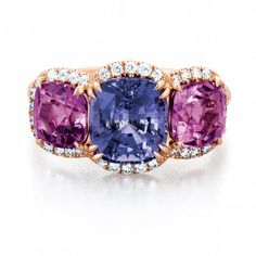 Lilac and Violet Spinel Ring in rose gold by Bejanoff