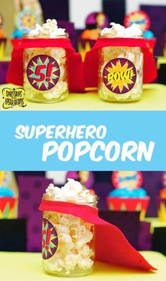 Superhero Popcorn Party Cups Dessert Table Idea - Easy DIY!!! www.spaceshipsandlaserbeams.com