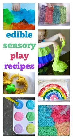 edible sensory play activities :: taste-safe sensory play ideas :: sensory play recipes for toddlers and preschool Edible Sensory Play, Sensory Play Recipes, Baby Sensory Play, Baby Play, Sensory Bins, Sensory Play For Toddlers, Activities For Toddlers, Nursery Activities, Infant Activities