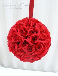 Red rose Wedding pomander Kissing ball by BrideinBloomWeddings