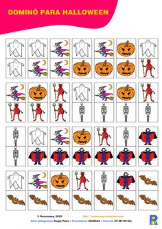 domino-halloween Bingo, Halloween Infantil, Hallows Eve, Playing Cards, Handmade, English, Halloween, Labyrinths, Note Cards