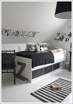 Love the Scandi schic monochrome kids bedroom style? You're going to need this must-have shopping list to get the look. black and white kids bedroom, monochrome nursery, modern home. Teen Boy Rooms, Teenage Room, Teen Girl Bedrooms, Bedroom Boys, Teen Boys, Guitar Bedroom, White Kids Room, Black And White Boys Bedroom, Black Girls