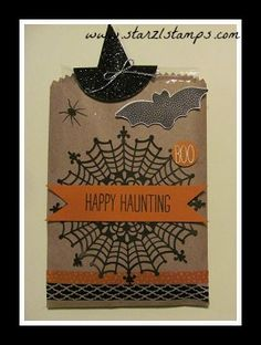 Lynn's super cute treat bag: Cheer All Year, Happy Haunting dsp & washi tape, Black Glimmer Paper, Spider Web Doily, & more - all from Stampin' Up!