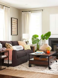 Decorating Trends What We Love Right Now Dark Brown SofasDark CouchRed And TealHome Living RoomLiving Room IdeasLiving