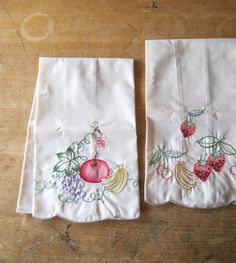 Vintage embroidered Tea Towels Fruit Motif by RushCreekVintage