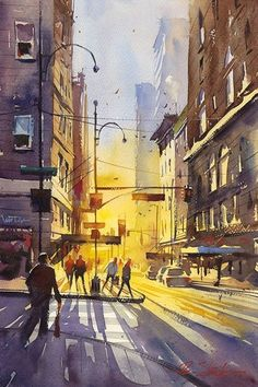 Simple Watercolor Painting Ideas17, sunlight through the city buildings.