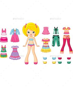 Paper Doll by Platinka Paper doll with set of summer clothes, EPS 8, JPG (high resolution)
