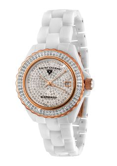Ladies Diamond Ceramic Ladies watch; Karamica/Diamond series; Casual style; Pave white diamond dial; Swiss quartz movement; Sapphire crystal; Rose gold-tone hands; Date display at 3:00; Unidirectional rose gold-tone stainless steel with white diamonds; 341 white diamonds on dial and bezel; Screw-down cabochon crown; Hidden clasp closure; Water resistant 100 meters Diamond #SapphireJewelry