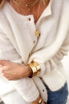 How to wear a cozy, fuzzy white cardigan.