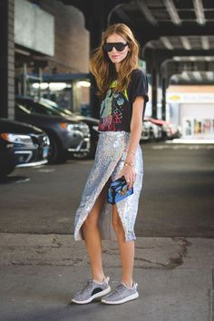 The Most Authentically Inspiring Street Style From New York #refinery29 http://www.refinery29.com/2015/09/93788/ny-fashion-week-spring-2016-street-style-pictures#slide-28 Sequins for days....