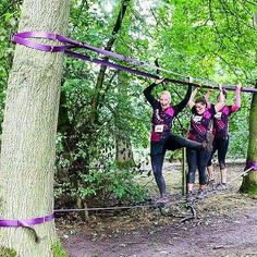 Hanging tight!! Trio of Filthy girls tackling the #FilthyGirlMudRun course with aplomb. Pics by @dbp_uk