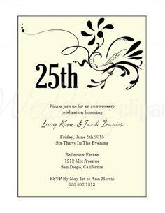 wording-for-25th-wedding-anniversary-invitations | 25 yrs ideas, Wedding invitations