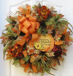 Fall Wreath Fall Burlap Wreath Fall Mesh Wreath