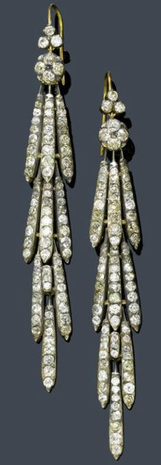 Diamond ear pendants, ca. 1900.  Silver over yellow gold.