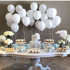Baptism decoration ideas boy baptism party decor dessert table baptism decoration ideas party for girl . Baby Party, Baby Shower Parties, Baby Shower Themes, Baby Boy Shower, Baby Shower Balloon Ideas, Baby Shower Table Set Up, Easter Party, Shower Ideas, Baptism Party Decorations
