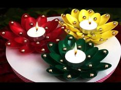 DIY Diwali/Christmas Home Decoration Ideas : How to Decorate Diwali Diya from Plastic Spoons?Have you ever tried plastic spoon crafts for home decoration? In this article we will show you how to make diwali diya decoration from plastic spoons. Christmas Candle Holders, Christmas Candles, Christmas Crafts, Christmas Decorations, Diwali Decorations, Candle Decorations, Paper Decorations, Diy Christmas Home Decor, Diya Decoration Ideas