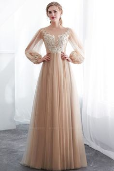 Charming Champagne Sheer Neckline Tulle Prom Dress, Unique Sleeves Prom Dresses, Evening Party Dress on Luulla Elegant Dresses For Women, Unique Prom Dresses, Prom Dresses Online, Pretty Dresses, Formal Dresses, Dresses Dresses, Dance Dresses, Lace Party Dresses, Prom Dresses Long With Sleeves