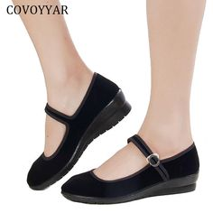 2017 Mary Janes Ladies Flats Buckle Strap Comfortable Women Shoes Round Toe  Solid Casual Shoes Plus Size Black 497dd780d1b6