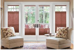 Twin Cell Honeycomb Shades in 13563 Spice with cordless top down+bottom up