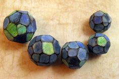 Blue-Green  Facetted Artisan Beads Handmade from Polymer Clay