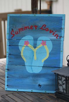 Outdoor Wooden Sign - Summer Lovin' -  Outdoor Decor yard sign reclaimed pallet wood