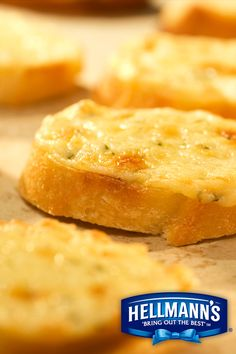 Bite into our delicious Asiago Toasts made with Hellmann's® Mayonnaise Dressing with Olive Oil and fresh shredded cheese on a French baguette. Hellmans Recipes, Good Food, Yummy Food, Summer Snacks, Grain Foods, Recipe For Mom, Cooking Recipes, Bread Recipes, Yummy Recipes