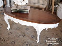 French Country White Coffee Table by noteworthyhome on Etsy, $225.00 French Provincial, country french, coffee table, white and walnut stain, stained top, shabby chic coffee table