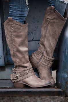 One Last Thing Laser Cutout Stitch Detail Boots (Taupe) - NanaMacs.com - 5