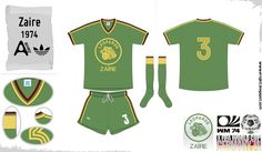 Zaire away kit for the 1974 World Cup Finals.