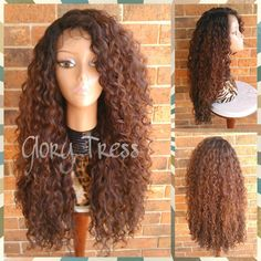 On Long Kinky Curly Lace Front Wig Ombre Wig Curly Brown Wig Beach... ($110) ❤ liked on Polyvore featuring bath & beauty, grey, hair care and wigs