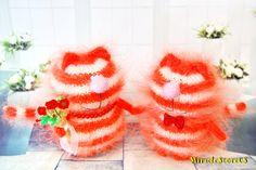 CAT Kitty AMIGURUMI Orange Cat Kitty Knit Mohair Cat - Halloween Handmade Cat - Little Miniature Cat - Mohair Wool Cat - Halloween Toy Cat